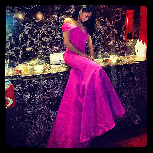 Chanel Iman posed in a purple gown in the bathroom at the American Ballet Theatre Gala. Source: Instagram user chaneliman