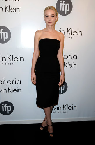 Carey Mulligan slipped into a strapless black dress from Calvin Klein Collection and added Brian Atwood heels for the Calvin Klein Collection-sponsored Women in Film party at the Cannes Film Festival.