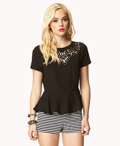 FOREVER 21 Baroque Cutout Peplum Blouse