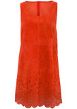 How cute is this orange suede laser-cut dress from the Topshop Festival Collection? With white sandals and classic sunglasses, this outfit will impress.