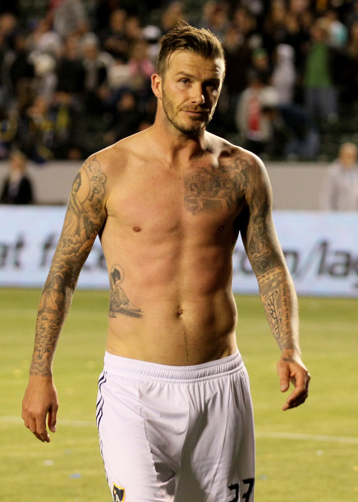 David Beckham left the field without his shirt after an LA Galaxy game in April 2012.