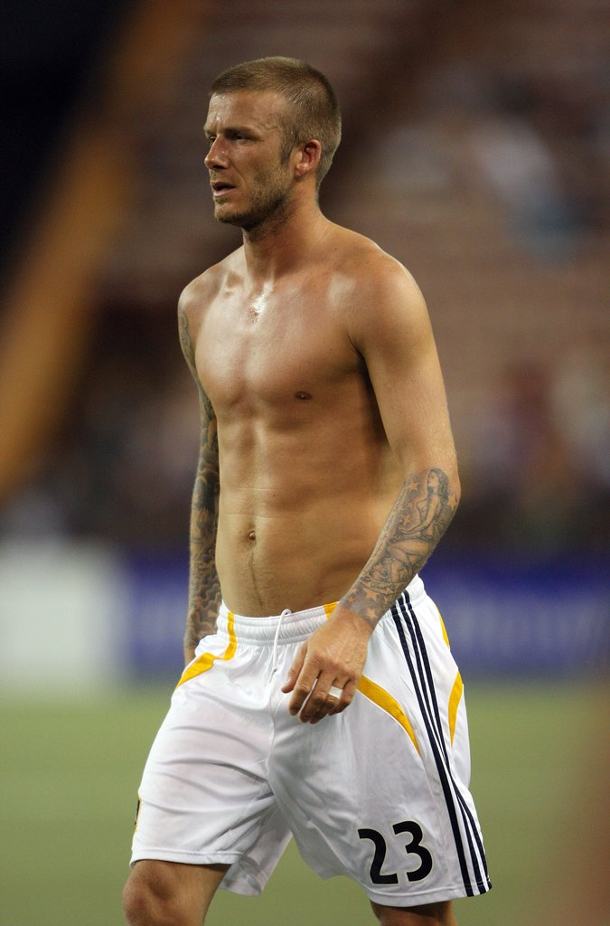 David Beckham walked around the field without his shirt during a February 2008 game with LA Galaxy.