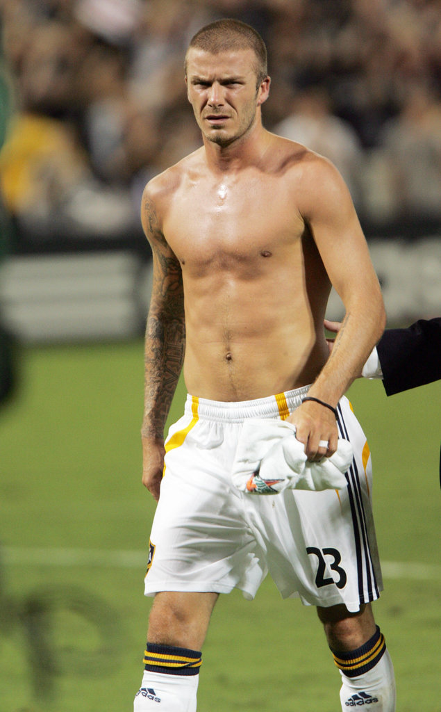 David Beckham showed off his chest during a game with LA Galaxy in August 2007.