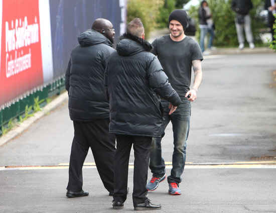 David Beckham Leaves His Paris Practice With a Smile