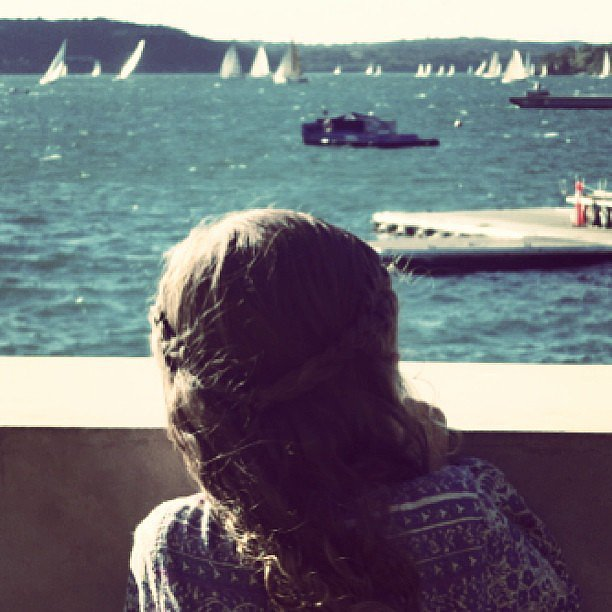 Harlow Madden took in the Sydney harbor with her dad, Joel. Source: Instagram user joelmadden