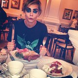 "Cara Delevingne shared a photo of the ""weirdest breakfast ever"" before a big shoot. Source: Instagram user caradelevingne"