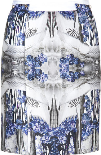 Prabal Gurung Blue-Multi Printed Silk-Cotton Pencil Skirt