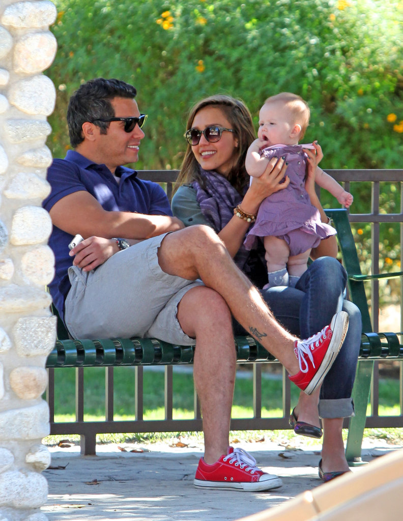 Jessica Alba and Cash Warren spent a day at the park in LA with Haven in January 2012.