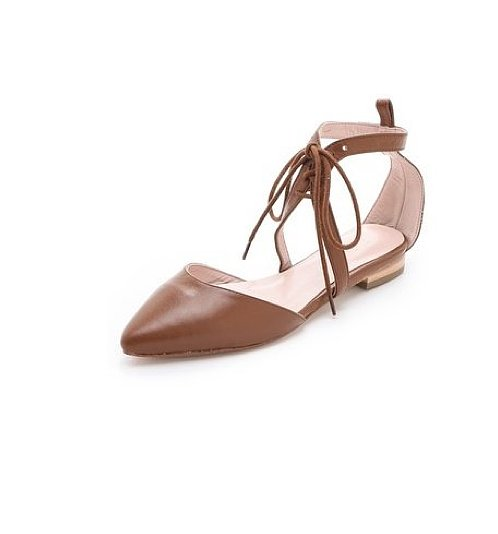 The lace-up detail on these Plomo Adelina open flats ($285) sets them apart from the rest of your ballet flats, and the go-with-anything chestnut hue could make them an easy favorite in our closets.