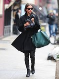 If in doubt, go head to toe black like Irina Shayk. Emerald tote optional.