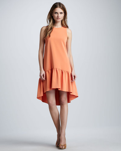 Nha Khanh Hi-Low Ruffle-Hem Dress, Tangerine
