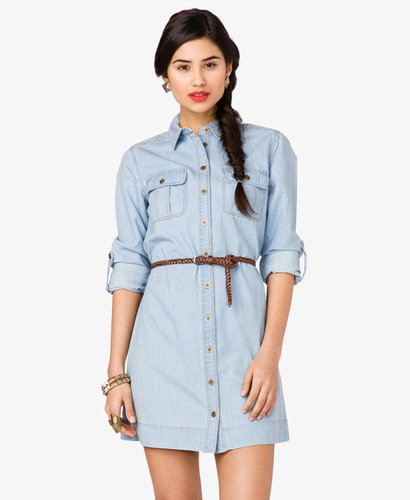 FOREVER 21 Denim Shirt Dress w/ Belt