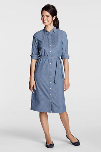 Women&#039;s Regular Solid Chambray Pintuck Bib Shirtdress