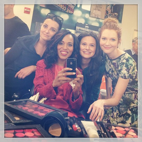 Kerry Washington posed backstage with her makeup team and Scandal costars for Good Morning America. Source: Instagram user kerrywashington