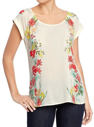 Women's Floral Cuffed-Sleeve Tops