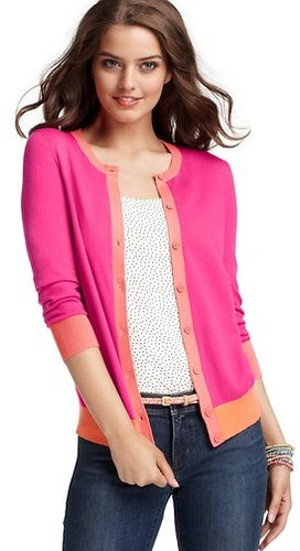 Colorblocked 3/4 Sleeve Cardigan