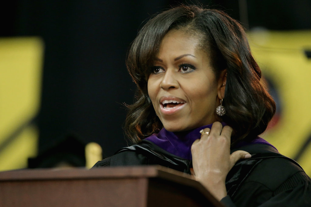 Michelle Obama showed off her sideswept bangs.