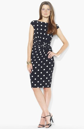 Lauren Ralph Lauren Polka Dot Jersey Sheath Dress