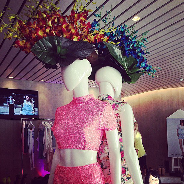 These floral hats almost stole the show at the Boohoo collection preview. Almost.