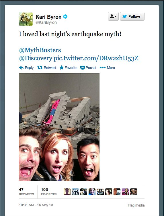 Kari Byron of MythBusters, alongside cohosts Tory Belleci and Grant Imahara, re-created seismic waves for this week's episode.