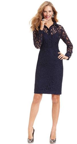 Jones New York Dress, Long-Sleeve Lace Shirtdress