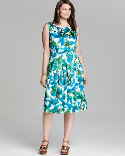 Jones New York Collection Plus Floral Pleated Dress