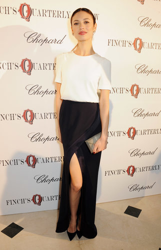 Olga Kurylenko attended the annual Finch's Quarterly Review Filmmakers Dinner in an understated black and white look finished with a Smythson clutch.