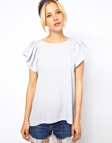 ASOS Blouse With Ruffle Sleeve And Drape Back