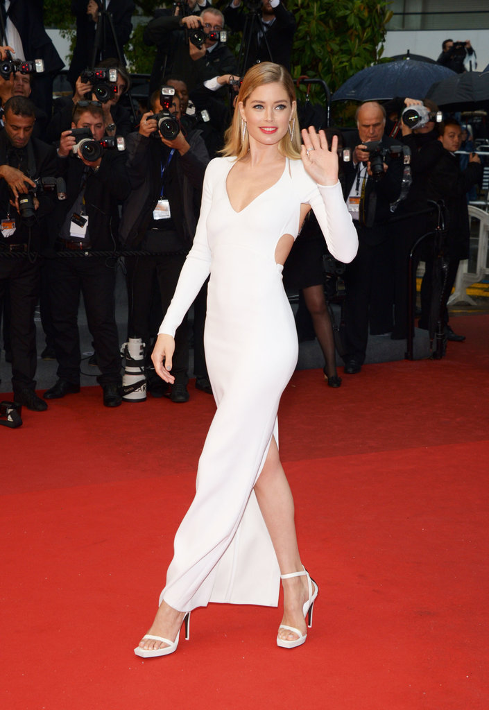 Doutzen Kroes made another jaw-dropping appearance, this time in a white-hot, cutout, and slit Calvin Klein Collection gown at the Jimmy P.: Psychotherapy of a Plains Indian premiere.