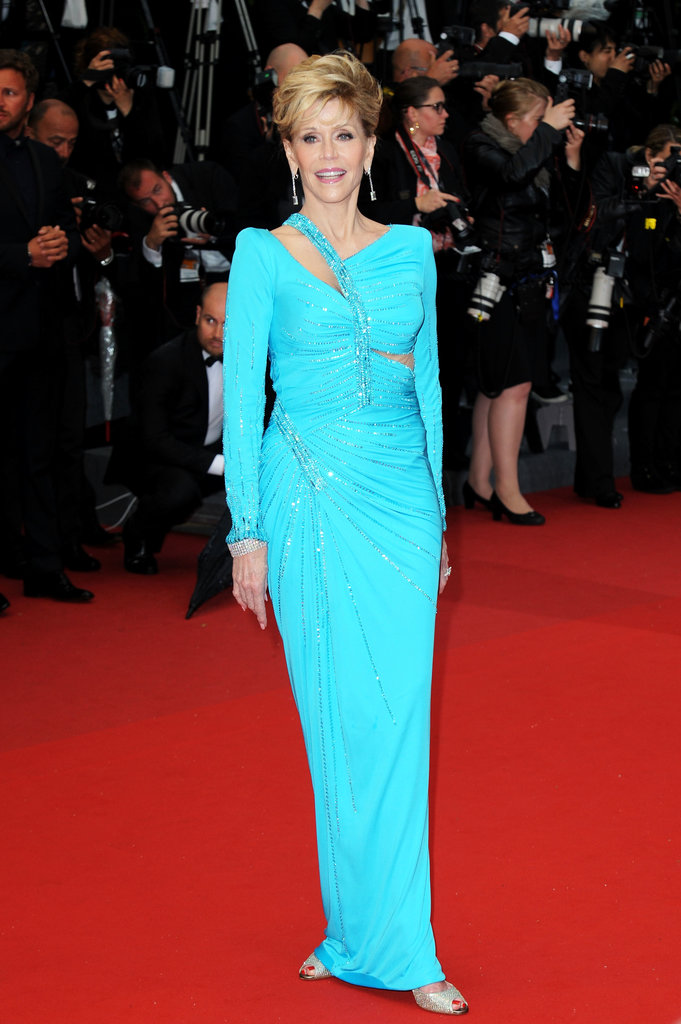 Jane Fonda took to the red carpet in a bold, blue, draped, and cutout column gown and Chopard jewelry for the Jimmy P.: Psychotherapy of a Plains Indian premiere.