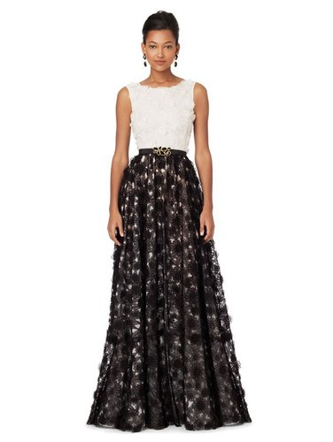 Sleeveless Embroidered Gown  With Full Skirt