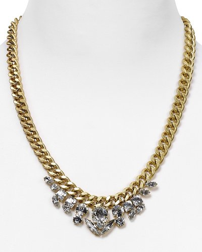 Aqua Cluster Crystal Chain Necklace, 18""