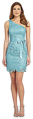 Adrianna Papell Strapless Lace Ribbon Tie Dress