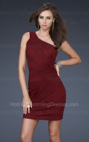 Cheap One Shoulder Short wine red Cocktail Ruffled Dress for Homecoming Sale