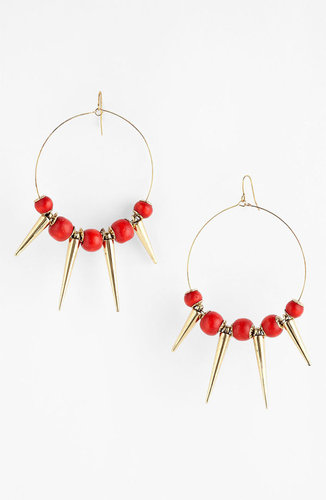 Spring Street Design Group Wood & Spike Hoop Earrings