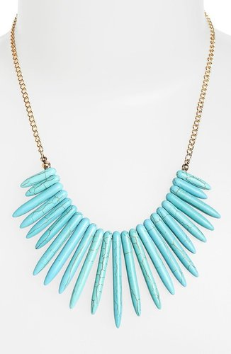 Carole Faux Turquoise Spike Statement Necklace