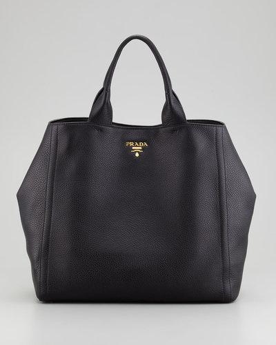 Prada Daino New Large Tote Bag, Nero