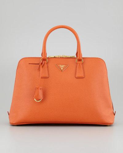 Prada Large Saffiano Lux Bugatti Tote Bag, Papaya Orange