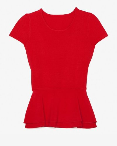 Exclusive For Intermix Double Peplum Top: Red
