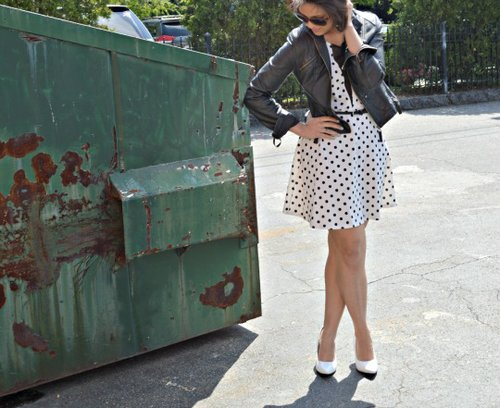 Polka Dots + Leather (Faux)