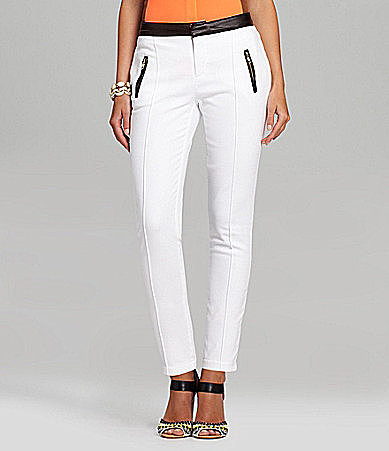 Gibson &amp; Latimer Faux-Leather-Trim Skinny Pants