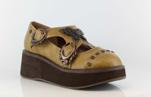 "Womens 1.25"" to 2"" Wedge Platform Steampunk flats"