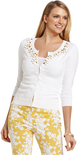 Charter Club Sweater, Three-Quarter-Sleeve Beaded Cardigan