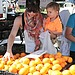 Selma Blair and her son Arthur picked oranges at an LA farmers market on Sunday.