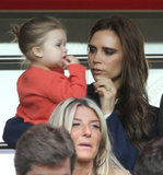 Victoria Beckham and Harper watched dad, David Beckham, make his exit in the final Paris Saint-Germain home game in Paris.