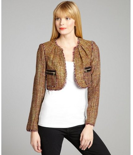 Kay Unger pink and yellow silk blended tweed cropped jacket