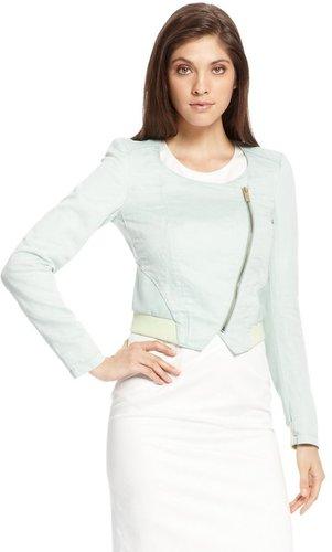 'Osaloni-W' | Cotton-Linen Cropped Jacket by BOSS Orange