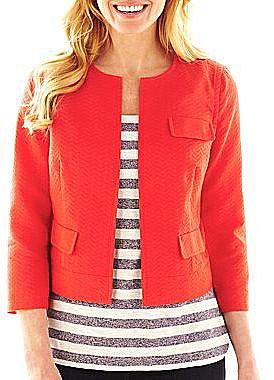 Liz Claiborne Textured Cropped Jacket
