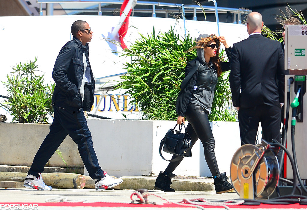 Jay-Z and Beyoncé Knowles headed out to a yacht off the coast of France.