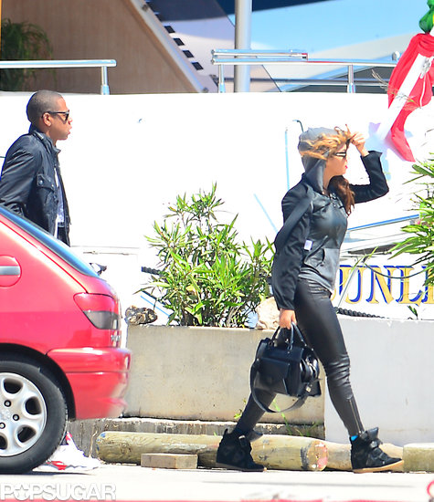 Jay-Z and Beyoncé Knowles arrived at a port in France.